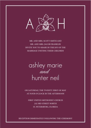 DIY Orchid Flower Invitation Suite, RSVP Card, plus Belly Band