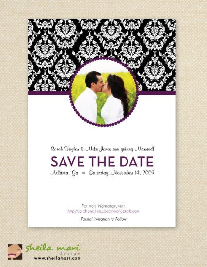 Damask Polk-a-dot Pattern Post Card - Customized Printable Save The Date