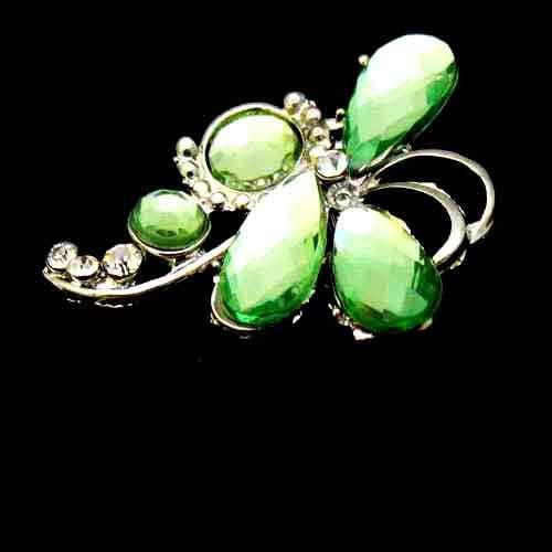 Fashion Rhinestone Green Crystal Pin Brooch