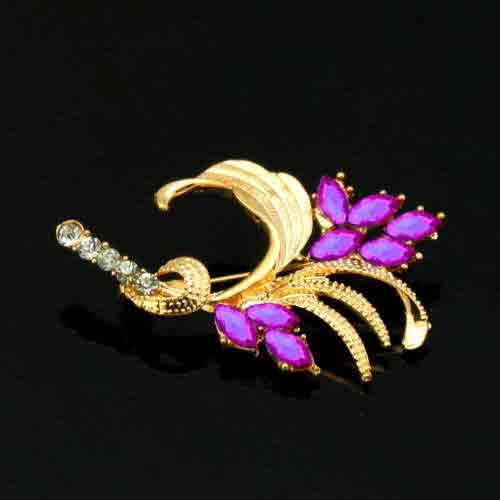 New Lady Gold Plate wheat ear crystal Pin Brooch