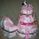 Zebra 3-tier Diaper Cake and Bassinet Set Baby Girl Shower Centerpiece