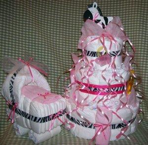 Zebra 3-tier Diaper Cake and Bassinet Set Baby Girl Shower Centerpiece