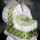 Bassinet Diaper Cake Neutral Baby Shower Polka Dots Boy or Girl