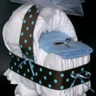 Bassinet Diaper Cake Brown Blue Polka Dot Baby Shower Centerpiece