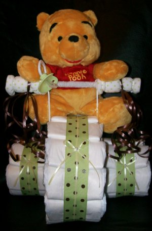 Diaper Tricycle Disney's WInnie the Pooh Baby Shower Centerpiece