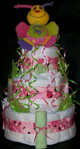 Love Bug Lady Bug Diaper Cake Baby Girl Shower Centerpiece