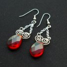 Handmade Free Form Wire Earring (RED Tears)