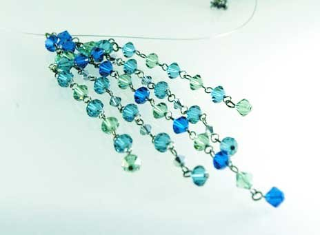 Handmade Crystal Beads Necklace (Water Fall)