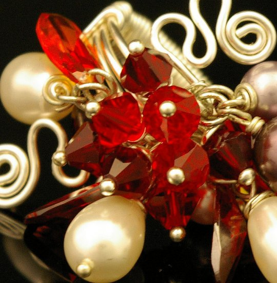 Handmade Wire free form Ring (Scarlet)