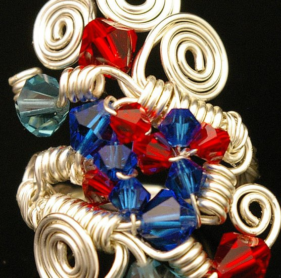 Handmade Wire & Crystal beads free form Ring (Ponder)