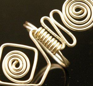 Handmade Wire free form Ring (Sliver coded)