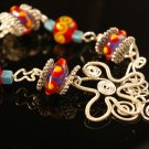 Handmade Wire and lampwork Braclet (Candy)