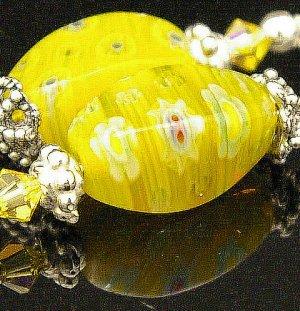 Handmade Wire Earrings with Bali Beads (lemon seed)