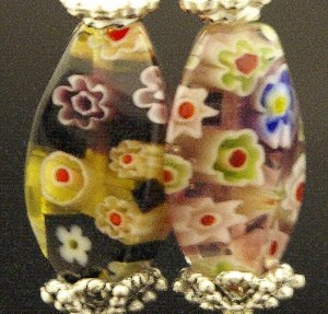 Handmade Lamp work Earrings with Bali Beads (Earth)