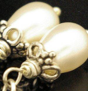 Handmade Wire Earring Swarovoski Crystal Pearl with Bali beads (Vanila)
