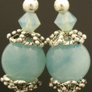 Handmade Wire Earrings With Jade beads & Bali beads (Dangy Jade)