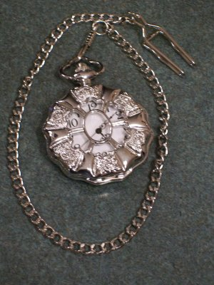Antique Style Mens Silver Pocket Watch