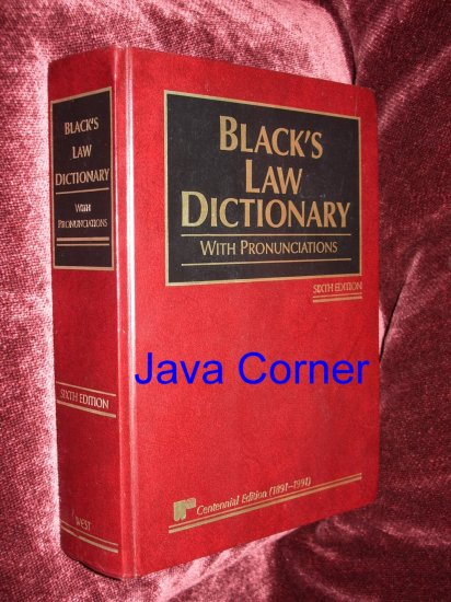 BLACK'S LAW DICTIONARY SIXTH EDITION, 1990