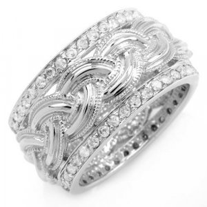 Solid White Gold Ring - 14K - Size 7.25