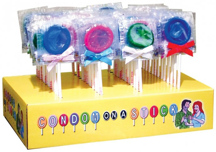 Condoms on a Stick - 1 package of 48