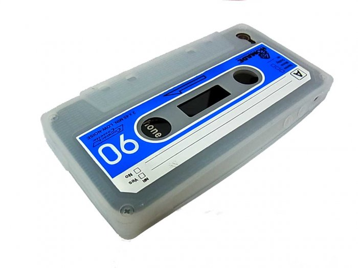 Cassette Tape Silicone Skin Case Cover for Apple iPhone 4 4G 4S White
