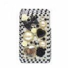 Bling Rhinestone Black Pearl Flower Heart Back Hard Case Cover for Apple iphone 3G 3GS