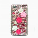 Bling Rhinestone Crystal Pink Flower Pearl Hard Case Cover for Apple iPhone 4 4G 4S LP