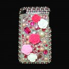 Bling Rhinestone Pink Heart Flower Pearl Hard Case Cover for Apple iPhone 3G 3Gs P003
