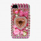 Bling Rhinestone Crystal Pink Heart Flower Pearl Hard Case Cover for Apple iPhone 4 4G 4S