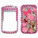 Bling Rhinestone Crystal Pink Flower Heart Case Cover for Blackberry 9700 9780 Bold B003