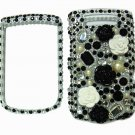 Bling Rhinestone Crystal Black Flower Case Cover for Blackberry 9800 Torch B002