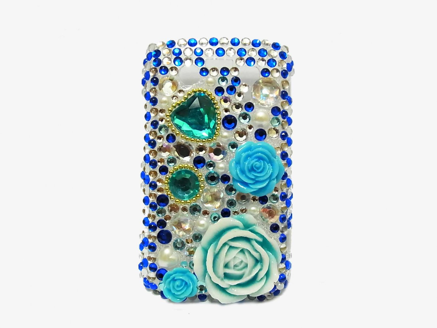 Bling Rhinestone Crystal Blue Flower Case Cover for Blackberry 9700 9780 Bold