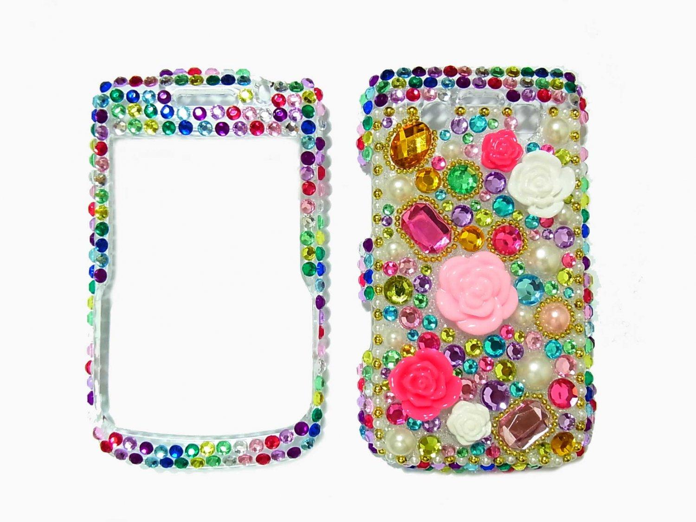 Bling Rhinestone Crystal Multi Color Flower Case Cover for Blackberry 9700 9780 Bold