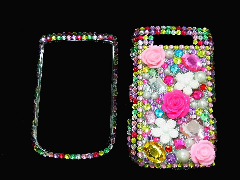 Bling Rhinestone Crystal Rainbow Flower Case Cover for Blackberry 9800 Torch RF