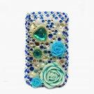 Bling Rhinestone Crystal Blue Flower Heart Case Cover for Blackberry 8520 8530 Curve