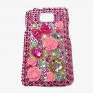 Bling Rhinestone Crystal Dark Pink Flower Case Cover for Samsung i9100 Galaxy S 2 II