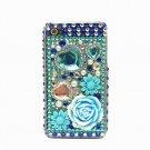 Bling Rhinestone Crystal Blue Flower Heart Hard Case Cover for Apple iPhone 4 4G 4S