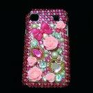 Bling Rhinestone Crystal Dark Pink Flower Case Cover for Samsung i9000 Galaxy S DP