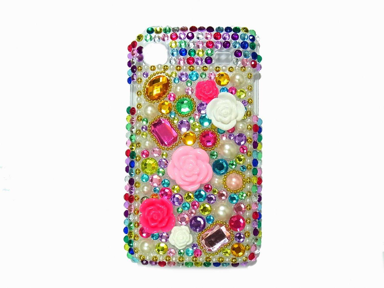 Bling Rhinestone Crystal Flower Case Cover for Samsung i9000 Galaxy S MF