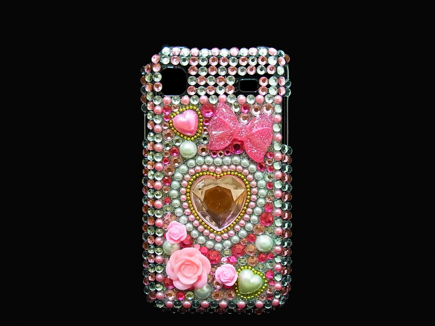Bling Rhinestone Crystal Pink Heart Flower Case Cover for Samsung i9000 Galaxy S