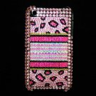Bling Rhinestone Crystal Leopard Pink Hard Case Cover for Apple iPhone 3G 3GS