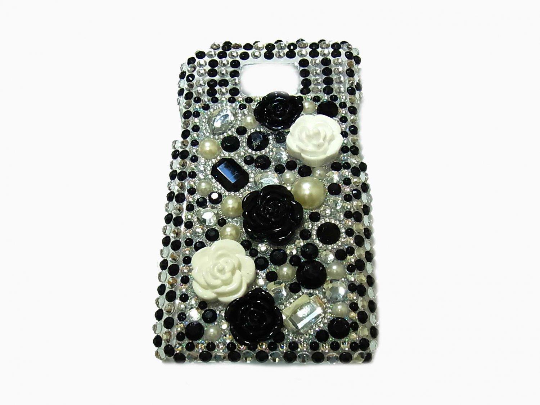 Bling Rhinestone Crystal Pearl Black Flower Case Cover for Samsung i9100 Galaxy S 2 II