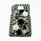 Bling Rhinestone Crystal Pearl Black Flower Case Cover for Samsung i9100 Galaxy S 2 II