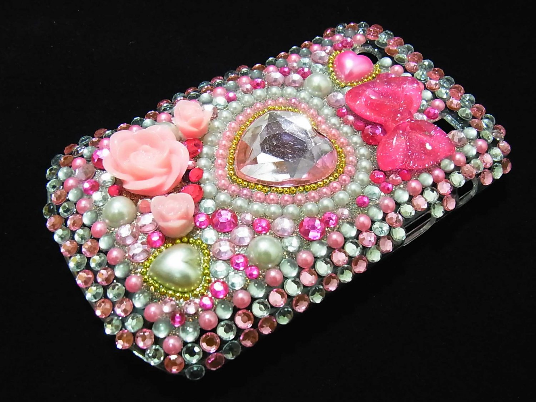 Bling Rhinestone Crystal Pink Flower Pearl Heart Case Cover for Blackberry 9900 9930 Bold PH