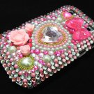 Bling Rhinestone Crystal Pink Flower Pearl Heart Case Cover for Blackberry 9900 9930 Bold PH