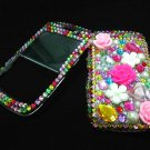 Bling Rhinestone Crystal Rainbow Flower Case Cover for Blackberry 8520 8530 Curve