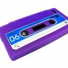 Cassette Tape Silicone Skin Case Cover for Apple iPhone 4 4G 4S Purple