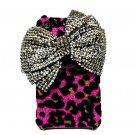 Bling Crystal Velvet Leopard Pink Ribbon Silver Bow Back Case Cover for Apple iphone 4 4G 4S BB