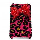 Bling Crystal Velvet Leopard Pink Red Bow Ribbon Back Case Cover for Apple iphone 4 4G 4S A1