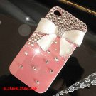 Bling Crystal Pearl White Bow Ribbon Back Case Cover for iphone 4 4G 4S